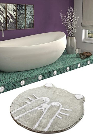 Chilai Home Shy Cat Gri Yuvarlak Banyo Paspası Akrilik Halı 90X90 Cm Gri
